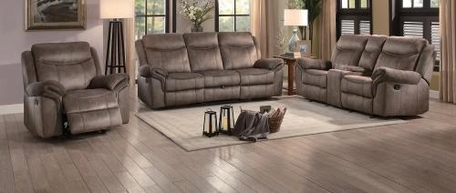 Aram Reclining Sofa Set - Brown Fabric