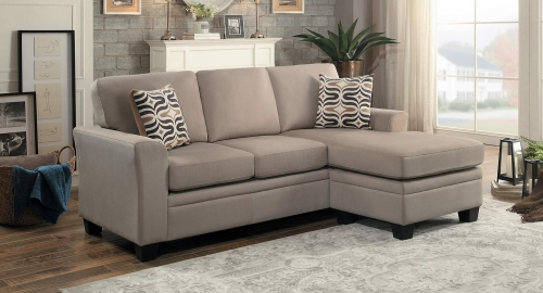 Synnove Reversible Sectional Sofa - Light Brown Fabric