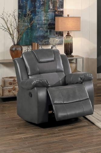 Taye Glider Reclining Chair - Gray Leather Gel Match/fabric