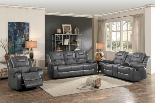 Taye Reclining Sofa Set - Gray Leather Gel Match/fabric