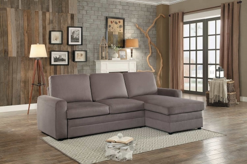 Welty Reversible Sleeper Sectional with Hidden Storage - Fossil Fabric