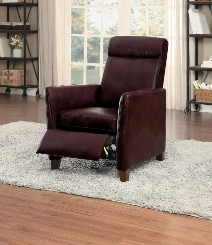 Waneta Push Back Reclining Chair - Brown Leather Gel Match