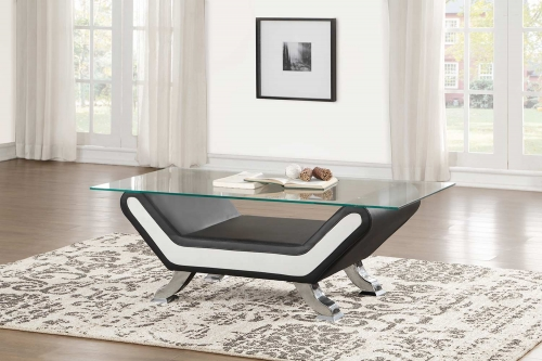 Veloce Coffee/Cocktail Table with Glass Top