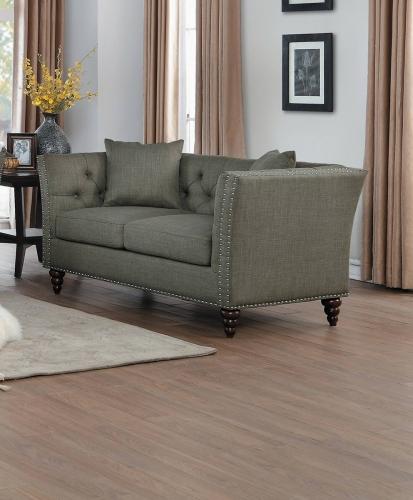 Marceau Love Seat - Brown-Gray Fabric