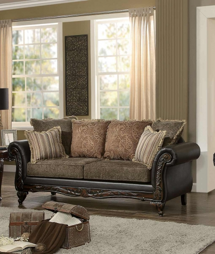 Thibodaux Sofa - Brown Fabric/Dark Brown Bi-Cast Vinyl