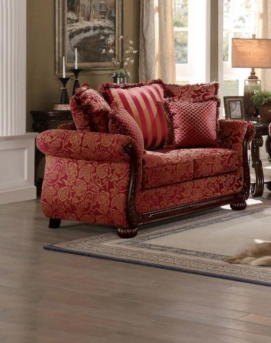 Grande Isle Love Seat - Red Printed Fabric