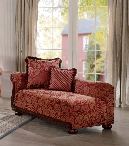 Grande Isle Chaise - Red Printed Fabric
