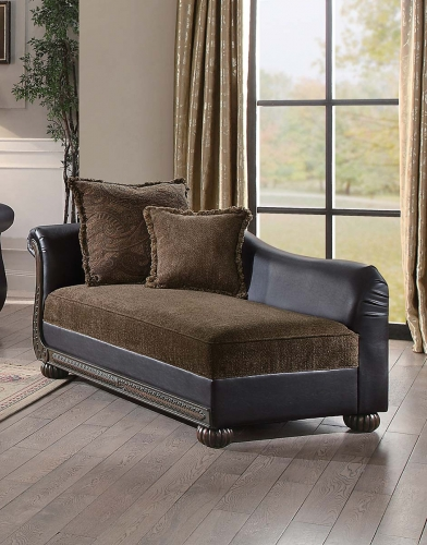 Grande Isle Chaise - Brown Fabric/Dark Brown Bi-Cast Vinyl