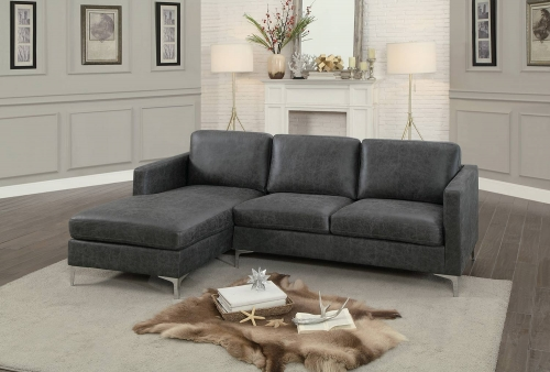 Breaux Sectional Sofa - Gray Fabric