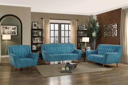 Erath Sofa Set - Blue Fabric