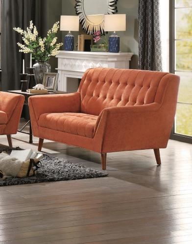 Erath Love Seat - Orange Fabric