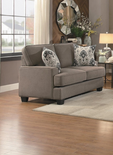Kenner Love Seat - Brown Fabric