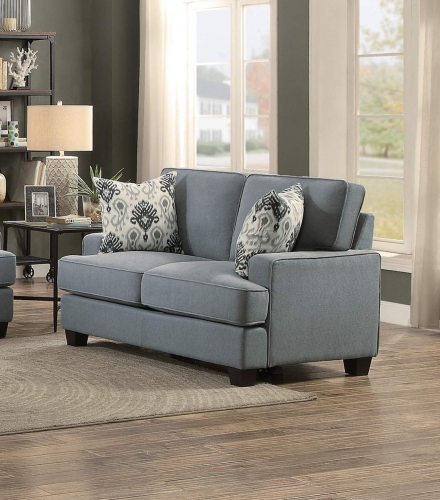 Kenner Love Seat - Gray Fabric