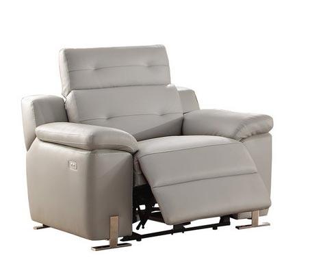 Vortex Power Reclining Chair - Top Grain Leather Match - Light Grey