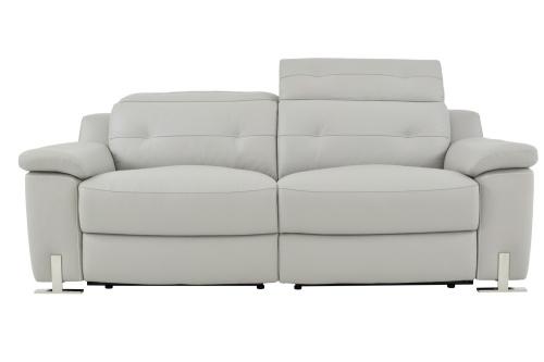 Vortex Power Double Reclining Sofa - Top Grain Leather Match - Light Grey