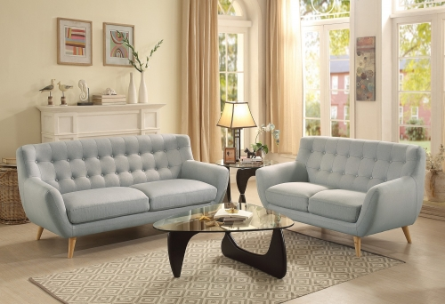 Anke Sofa Set - Polyester - Light Grey