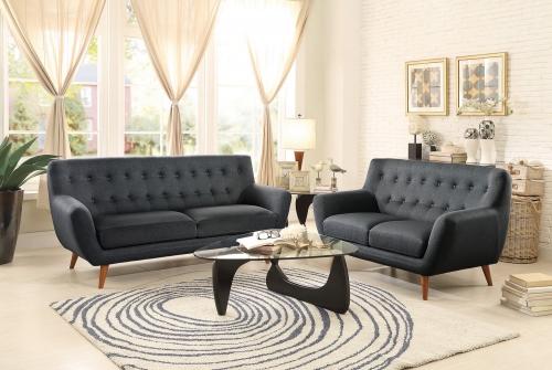 Anke Sofa Set - Polyester - Dark Grey