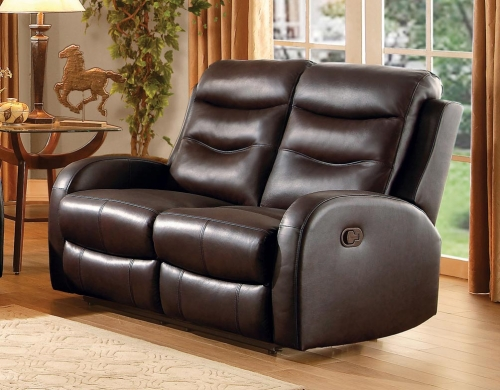 Coppins Double Reclining Love Seat - Top Grain Leather Match - Chocolate