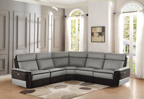 Laertes Power Reclining Sectional Sofa Set - Top Grain Leather/Fabric - Taupe Grey