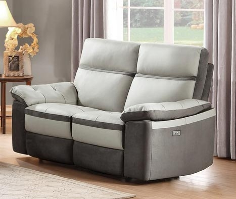 Otto Power Double Reclining Love Seat - Top Grain Leather - Light Grey