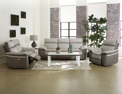 Otto Power Reclining Sofa Set - Top Grain Leather - Light Grey