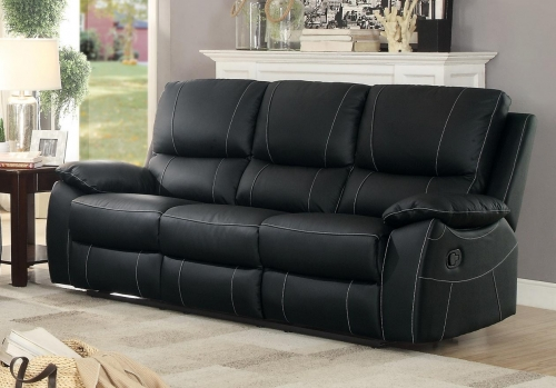 Greeley Double Reclining Sofa - Top Grain Leather Match - Black