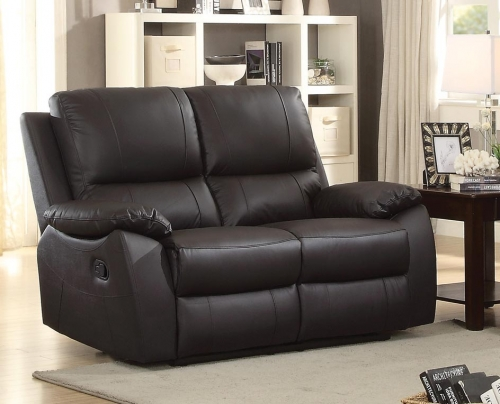 Greeley Double Reclining Love Seat - Top Grain Leather Match - Brown