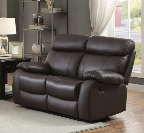 Pendu Double Reclining Love Seat - Top Grain Leather Match - Brown