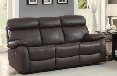 Pendu Double Reclining Sofa - Top Grain Leather Match - Brown