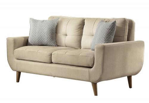 Deryn Love Seat - Polyester - Beige