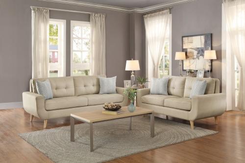 Deryn Sofa Set - Polyester - Beige
