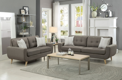 Deryn Sofa Set - Polyester - Grey