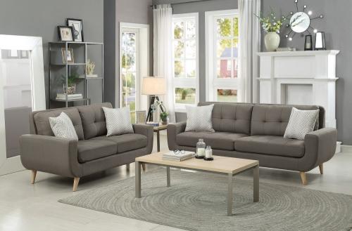 Homelegance Deryn Sofa Set - Polyester - Grey