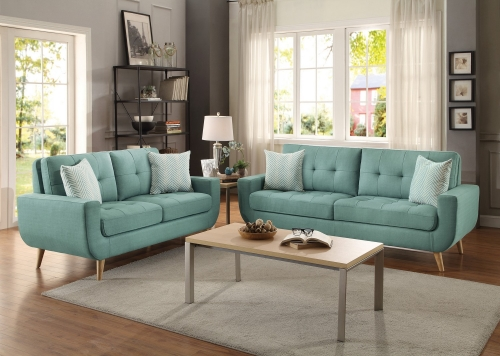 Deryn Sofa Set - Polyester - Teal