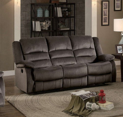 Jarita Double Reclining Sofa - Chocolate Fabric