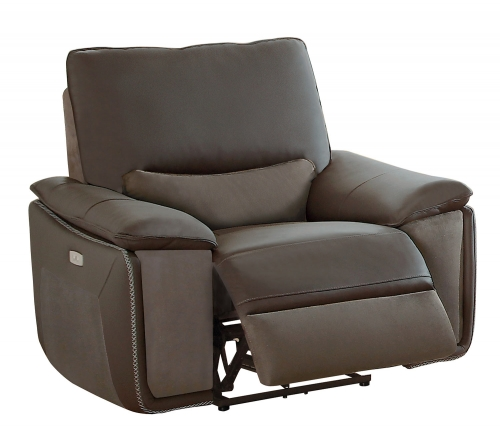 Corazon Power Reclining Chair - Navy Gray Top Grain Leather/Fabric