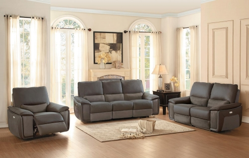 Corazon Power Reclining Sofa Set - Navy Gray Top Grain Leather/Fabric