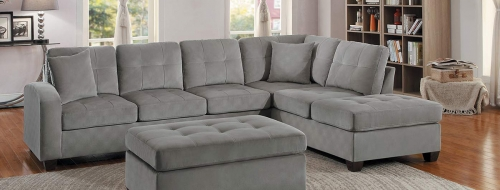 Emilio Reversible Sectional Sofa - Taupe Fabric