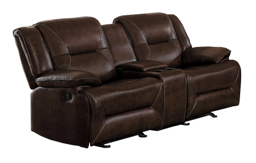 Okello Double Glider Reclining Love Seat with Console - Brown AireHyde Match