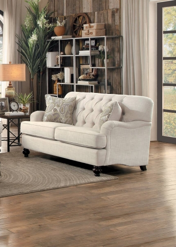 Clemencia Love Seat - Natural Tone Fabric
