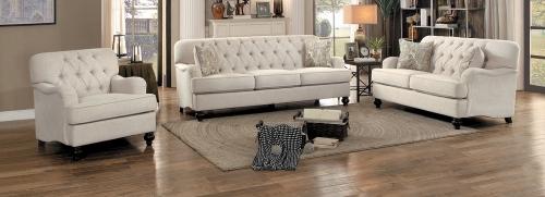 Clemencia Sofa Set - Natural Tone Fabric