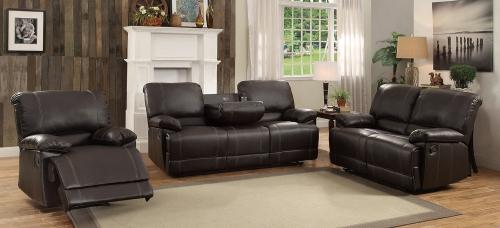 Cassville Reclining Sofa Set - Dark Brown
