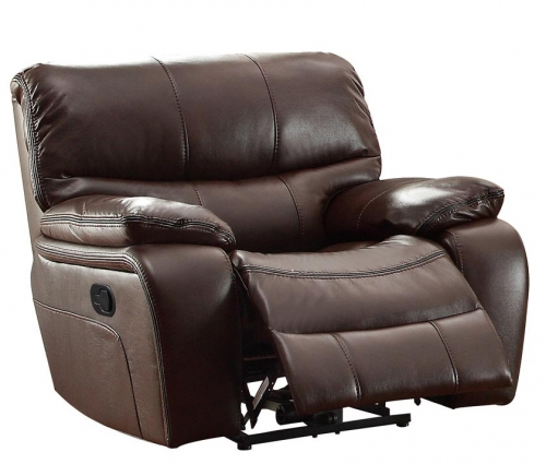 Pecos Glider Reclining Chair - Leather Gel Match - Dark Brown