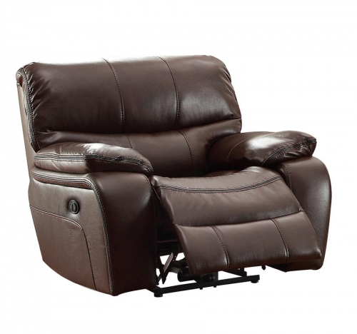 Pecos Power Reclining Chair - Leather Gel Match - Dark Brown