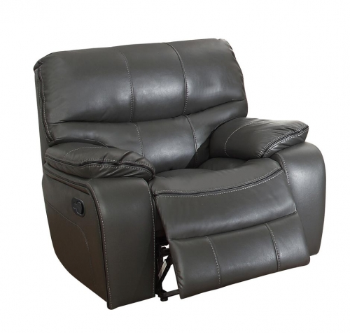 Pecos Glider Reclining Chair - Leather Gel Match - Grey