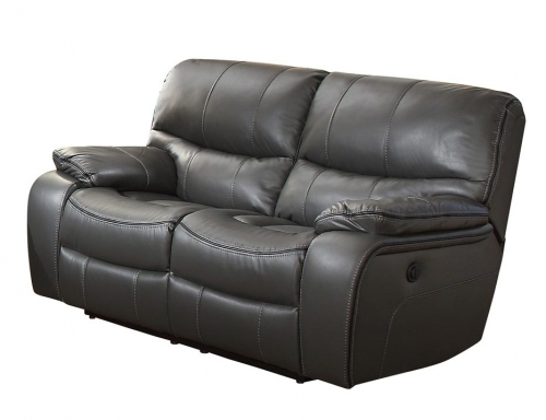 Homelegance Pecos Power Double Reclining Love Seat - Leather Gel Match - Grey