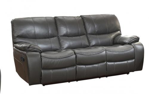 Pecos Double Reclining Sofa - Leather Gel Match - Grey