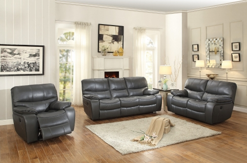 Pecos Power Reclining Sofa Set - Leather Gel Match - Grey