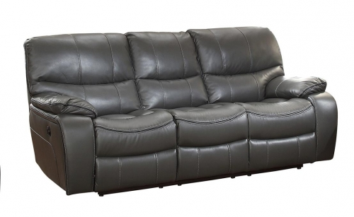 Pecos Power Double Reclining Sofa - Leather Gel Match - Grey