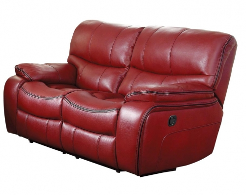 Pecos Double Reclining Love Seat - Leather Gel Match - Red